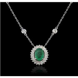 14KT White Gold 1.18ct Emerald and Diamond Necklace
