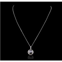14KT White Gold 3.48ct Black Diamond and Diamond Pendant With Chain