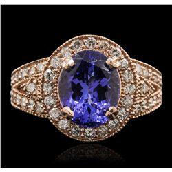 14KT Rose Gold 3.80ct Tanzanite and Diamond Ring