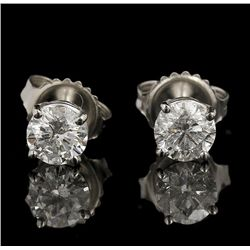14KT White Gold 1.00ctw Diamond Solitaire Earrings