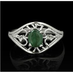 SILVER 0.41ct Emerald and Topaz Ring