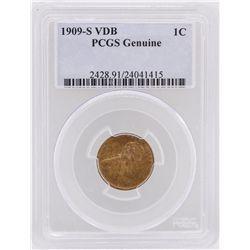 1909-S VDB 1 Cent Genuine Lincoln Head Copper Coin