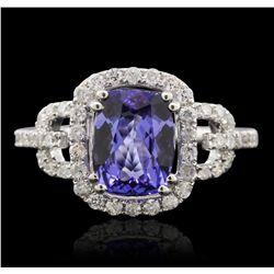 14KT White Gold 2.04ct Tanzanite and Diamond Ring