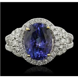 14KT Two-Tone Gold 4.00ct Tanzanite and Diamond Ring