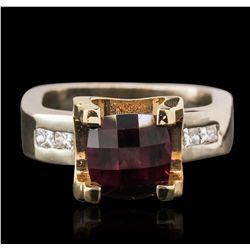 14KT Two-Tone Gold 4.87ct Almandite and Diamond Ring