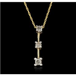 10KT Yellow Gold 0.26ctw Diamond Pendant With Chain