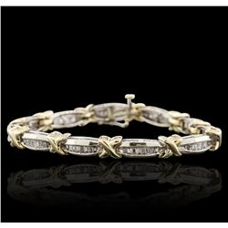 10KT Two-Tone Gold 2.93ctw Diamond Tennis Bracelet