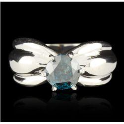 14KT White Gold 1.50ct I-3 Fancy Blue Diamond Ring