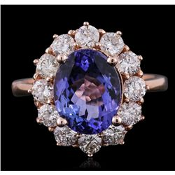 14KT Rose Gold 3.30ct Tanzanite and Diamond Ring