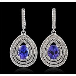 14KT White Gold 3.86ctw Tanzanite and Diamond Earrings