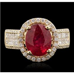 14KT Yellow Gold 3.37ct Ruby and Diamond Ring