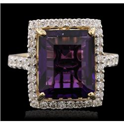 14KT Yellow Gold 5.81ct Amethyst and Diamond Ring