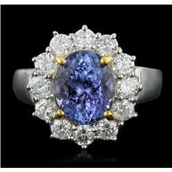 14KT Two-Tone Gold 3.24ct Tanzanite and Diamond Ring