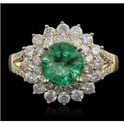 14KT Yellow Gold 1.75ct Emerald and Diamond Ring