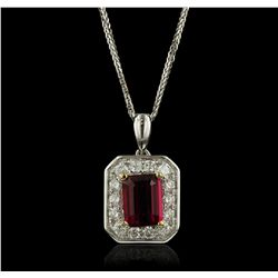 14KT Two-Tone Gold 1.53ct Tourmaline and Diamond Pendant With Chain