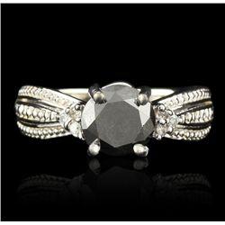 14KT White Gold 1.36ct Black and White Diamond Ring