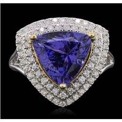 14KT Two-Tone Gold 4.70ct Tanzanite and Diamond Ring
