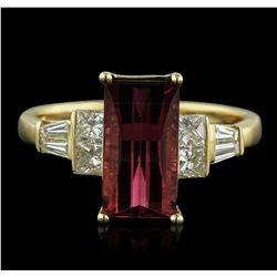 14KT Yellow Gold 2.60ct Pink Tourmaline and Diamond Ring
