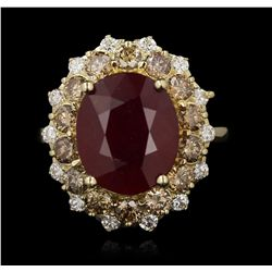 14KT Yellow Gold 6.24ct Ruby and Diamond Ring