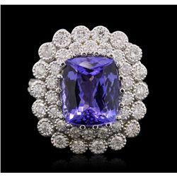 14KT White Gold 6.87ct Tanzanite and Diamond Ring