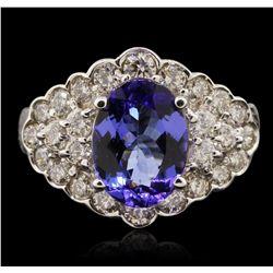 14KT White Gold 3.38ct Tanzanite and Diamond Ring