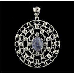 SILVER 2.60ct Tanzanite & White Sapphire Pendant