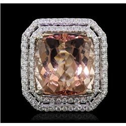 14KT White Gold 12.56ct Morganite and Diamond Ring