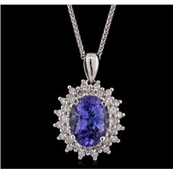 14KT White Gold 2.81ct Tanzanite and Diamond Pendant With Chain