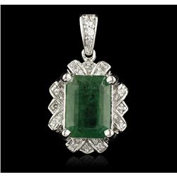 14KT White Gold 3.60ct Emerald and Diamond Pendant