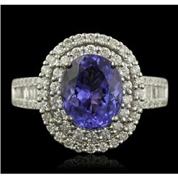 14KT White Gold 2.86ct Tanzanite and Diamond Ring