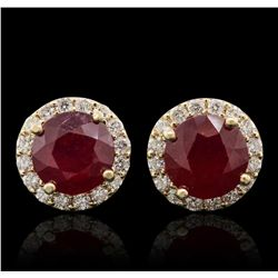 14KT Yellow Gold 6.50ctw Ruby and Diamond Stud Earrings