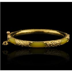 19KT Yellow Gold Jadeite Bangle Bracelet