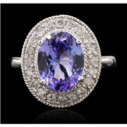 14KT White Gold 2.82ct Tanzanite and Diamond Ring