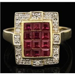 14KT Yellow Gold 1.20ctw Ruby and Diamond Ring