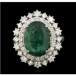14KT White Gold 4.12ct Emerald and Diamond Ring