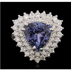 14KT White Gold 4.56ct Tanzanite and Diamond Ring