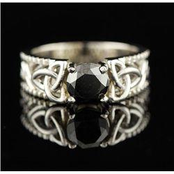 14KT White Gold 1.28ct Black Diamond Ring