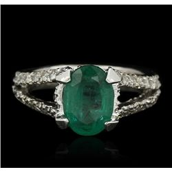 14KT White Gold 1.80ct Emerald and Diamond Ring