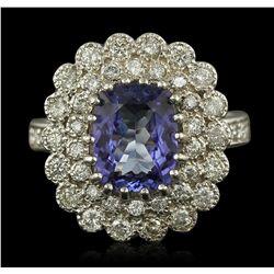 14KT White Gold 2.46ct Tanzanite and Diamond Ring
