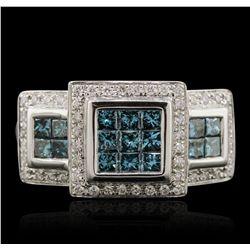 14KT White Gold 0.97ctw Blue Diamond Ring