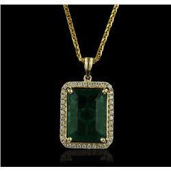 14KT Yellow Gold 8.05ct Emerald and Diamond Pendant