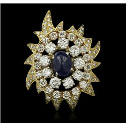 18KT and 14KT Yellow Gold 3.20ct Sapphire and Diamond Ring