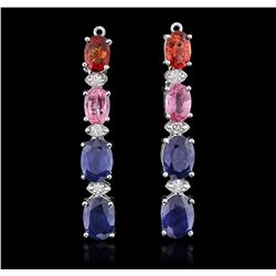 14KT White Gold 6.72ctw Multi-Color Sapphire and Diamond Earrings
