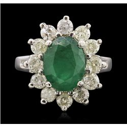 14KT White Gold 2.49ct Emerald and Diamond Ring