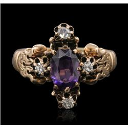 14KT Yellow Gold 1.00ct Amethyst and Diamond Ring