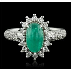 18KT White Gold 1.84ct Emerald and Diamond Ring