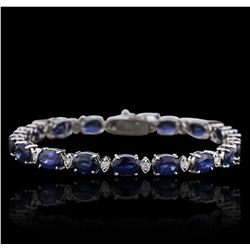 14KT White Gold 19.80ctw Sapphire and Diamond Bracelet