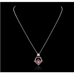 14KT Two-Tone Gold 0.86ct Ruby, Sapphire and Diamond Pendant With Chain