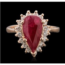 14KT Rose Gold 3.82ct Ruby and Diamond Ring