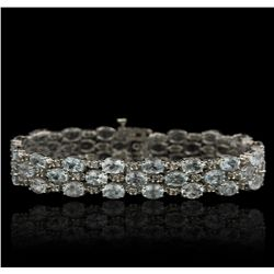 14KT White Gold 19.38ctw Aquamarine and Diamond Bracelet